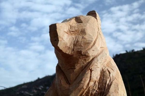 Ağaçtan 3 metrelik ayı heykeli yaptı galerisi resim 8