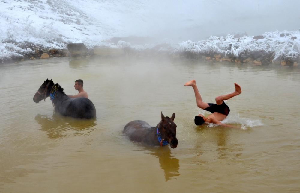 Manda ve Atlarını Kaplıca Sularında Yıkıyorlar galerisi resim 2