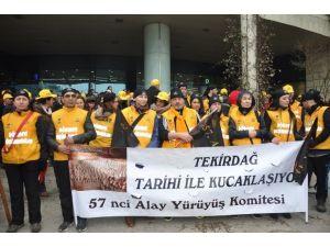 57. Alay Komitesi, 100 Yıl Önce Çanakkale'ye Yola Çıktığı Tekirdağ'da Yürüdü