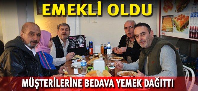 Samsun'da Emekli Olan Esnaf Müşterilerine Bedava Yemek Dağıttı
