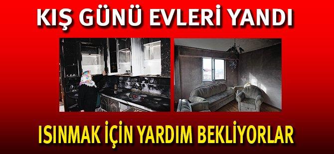 Samsun'da Kış Günü Evleri Yanan Aile Mağdur Oldu