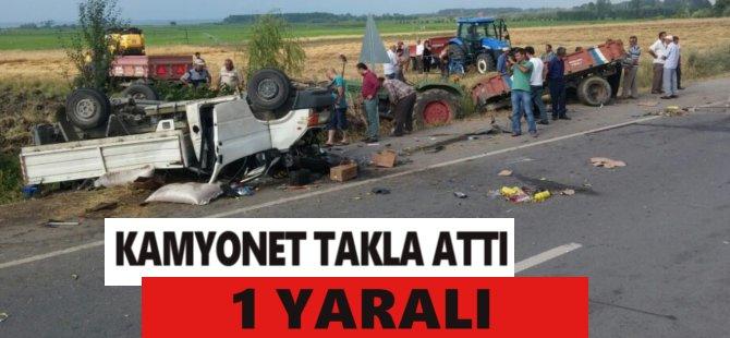Samsun'da Kamyonet Pikap Park Halindeki Traktöre Çarptı: 1 Yaralı