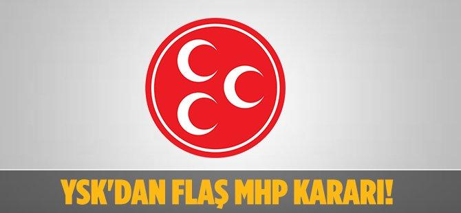 YSK'dan Flaş MHP Kararı!