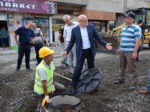 Samsun'un Terme İlçe Belediye Başkan Kul, Alt Yapı Çalışmalarını İnceledi