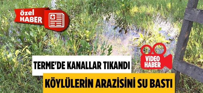 Samsun Terme'de Tıkanan Kanallar Nediyle Köylülerin Arazisini Su Bastı