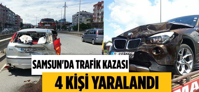Samsun'da Trafik Kazası 4 Yaralı