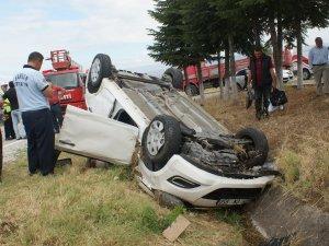 Samsun'da Otomobil Takla Attı: 1 Yaralı