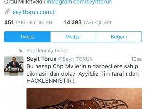 CHP'li Seyit Torun'un Twitter Hesabı Hacklendi