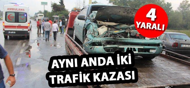Samsun'da Aynı Anda İki Trafik Kazası 4 Yaralı