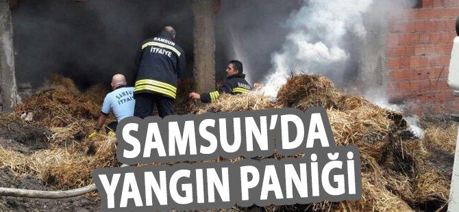 Samsun'da Samanlık Yangını