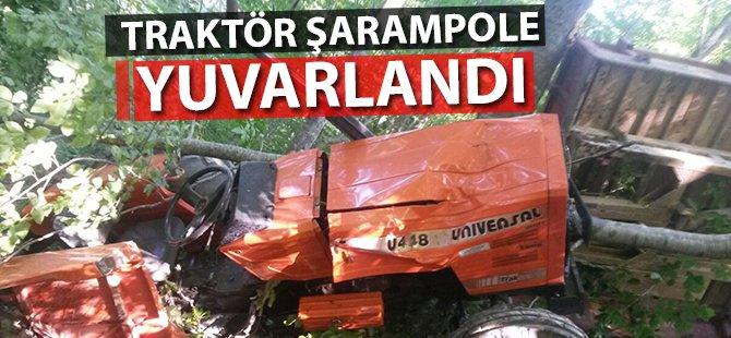 Samsun'da Traktör Şarampole Yuvarlandı