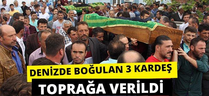 Samsun'da Girdikleri Denizde Boğulan 3 Kardeşin Cenazesi Toprağa Verildi