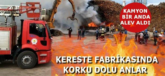 Samsun'un Vezirköprü İlçesi'nde Kereste Fabrikasında Yangın