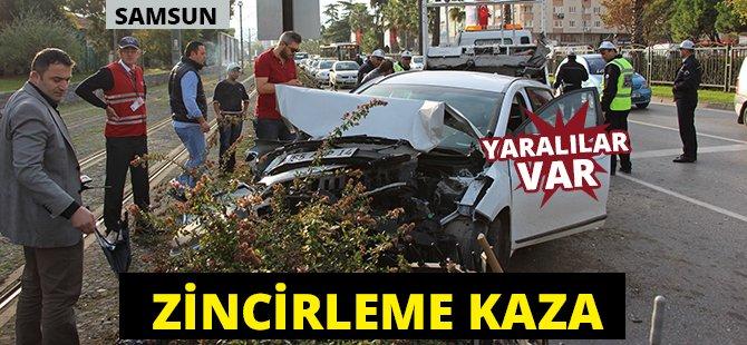 Samsun'da Zincirleme Trafik Kazası 4 Yaralı