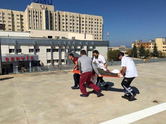 Samsun'da Hızarla Ayağını Kesen Adam Ambulans Helikopterle Hastaneye Kaldırıldı