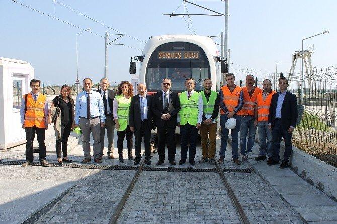 Samsun Hafif Raylı Hattında Tramvay Tekkeköy'e Ulaştı