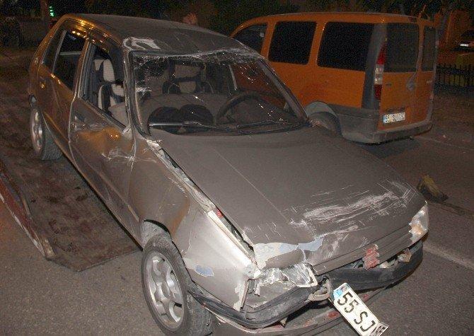 Samsun'da Takla Atan Otomobilin Sürücüsü Kaçtı
