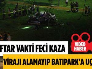 Samsun'da Virajı Alamayarak 15 Metre'den Batıpark'a Uçan Sürücü Hayatını Kaybetti